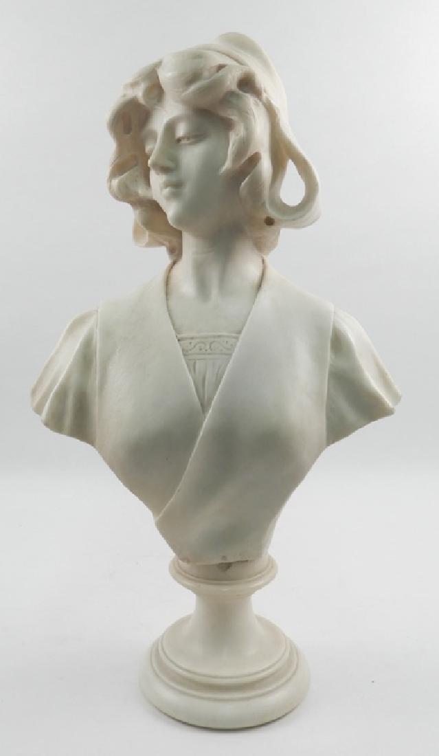Carrara marble female bust on pedestal