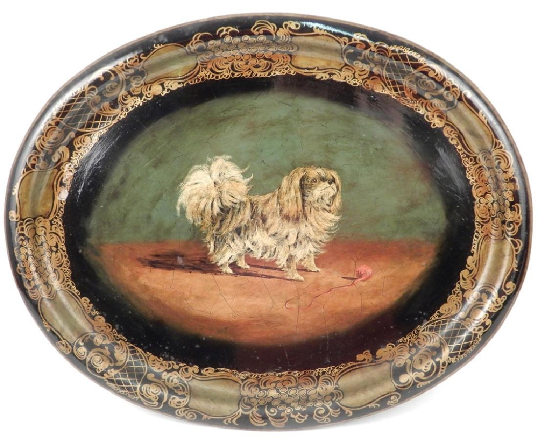 Tole painted tray Pekingese dog