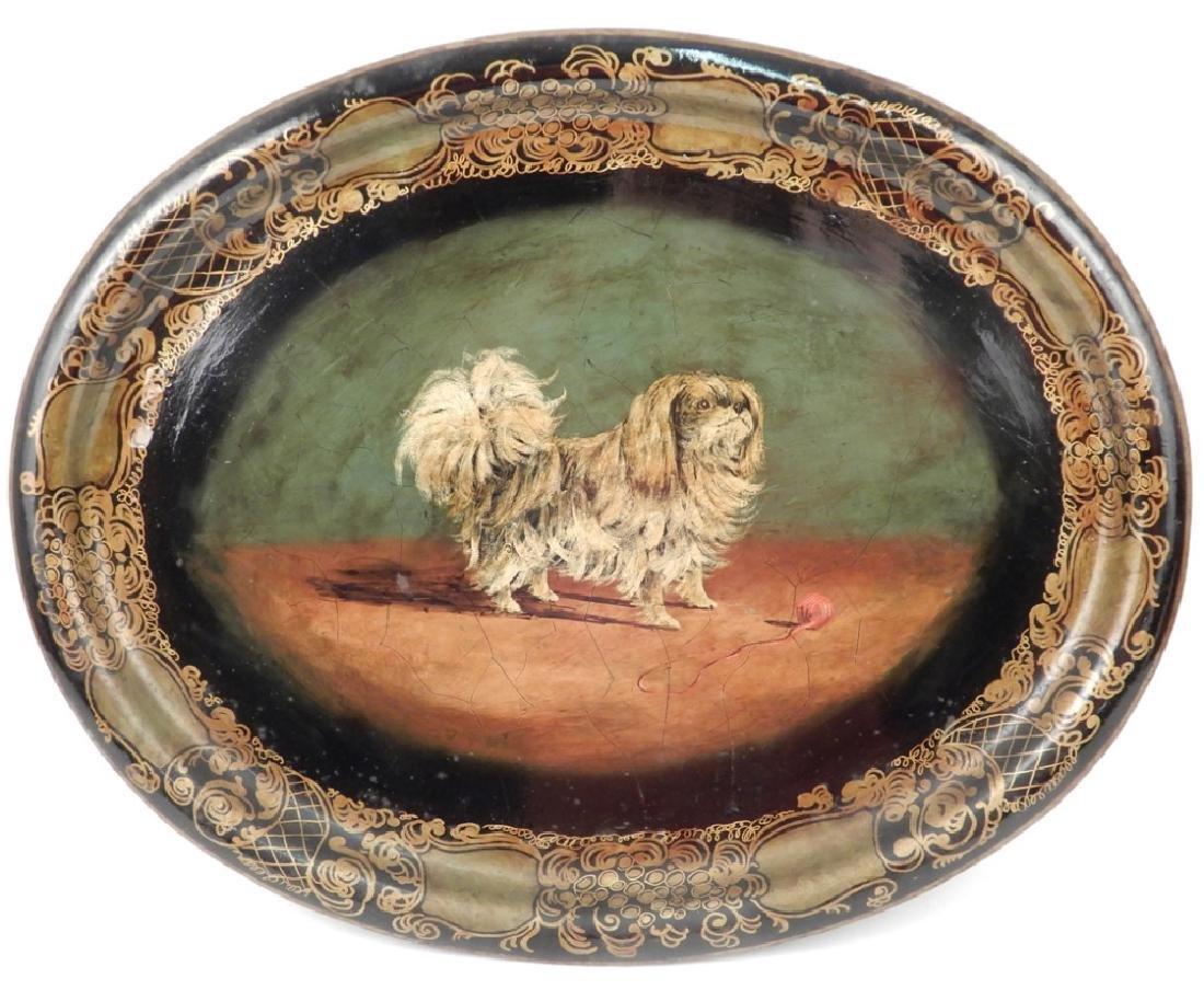 Tole painted tray Pekingese dog