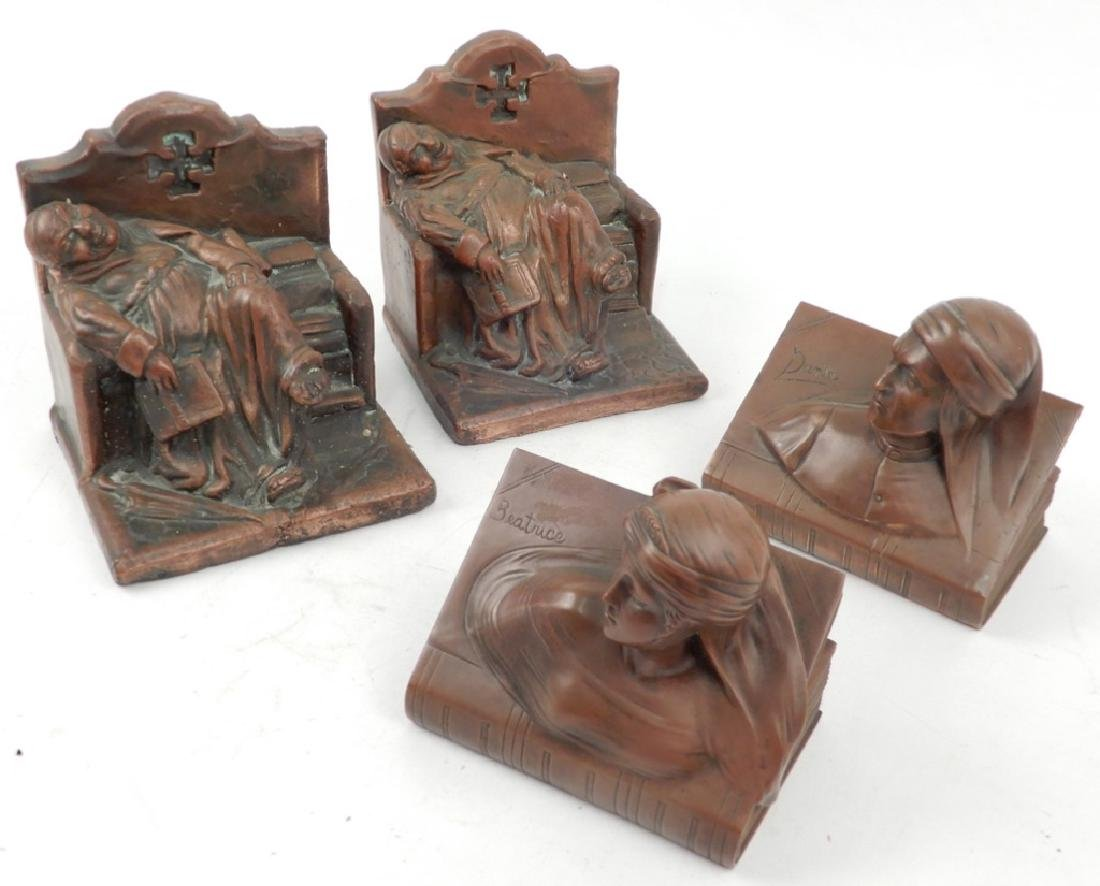 Two pairs of figural bookends