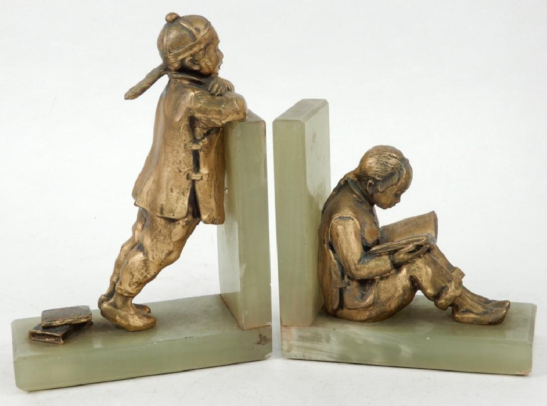 Art Deco gilded spelter and green onyx Chinese children - 2