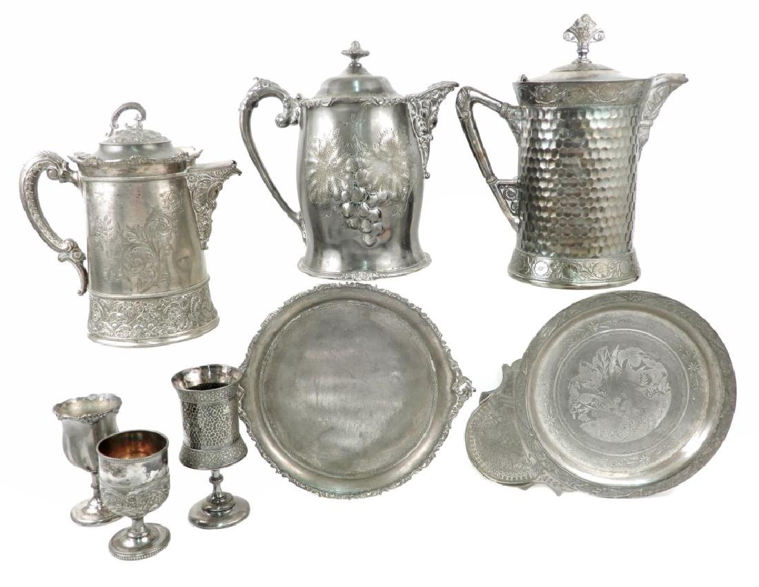 Grouping of Victorian silver plated pieces