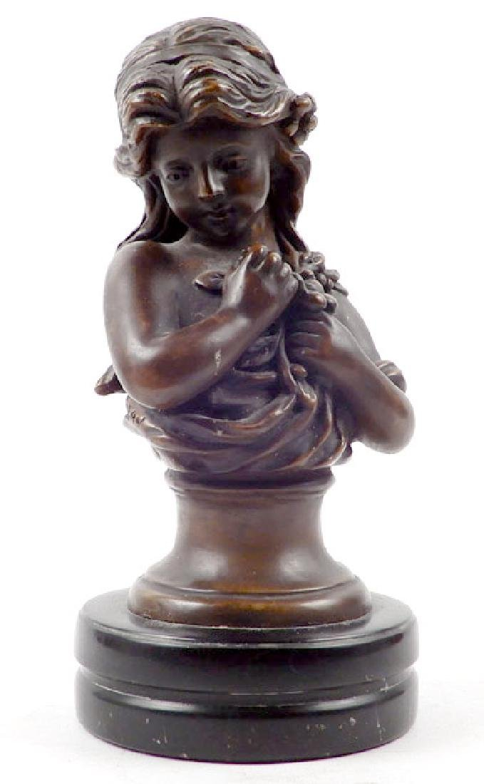 Bronze female bust after Moreau