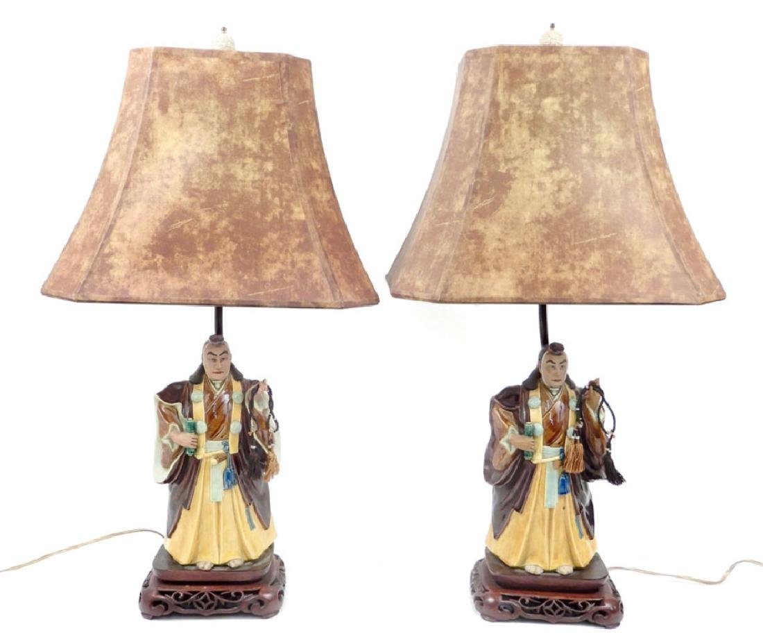 Pair of Japanese figural lamps