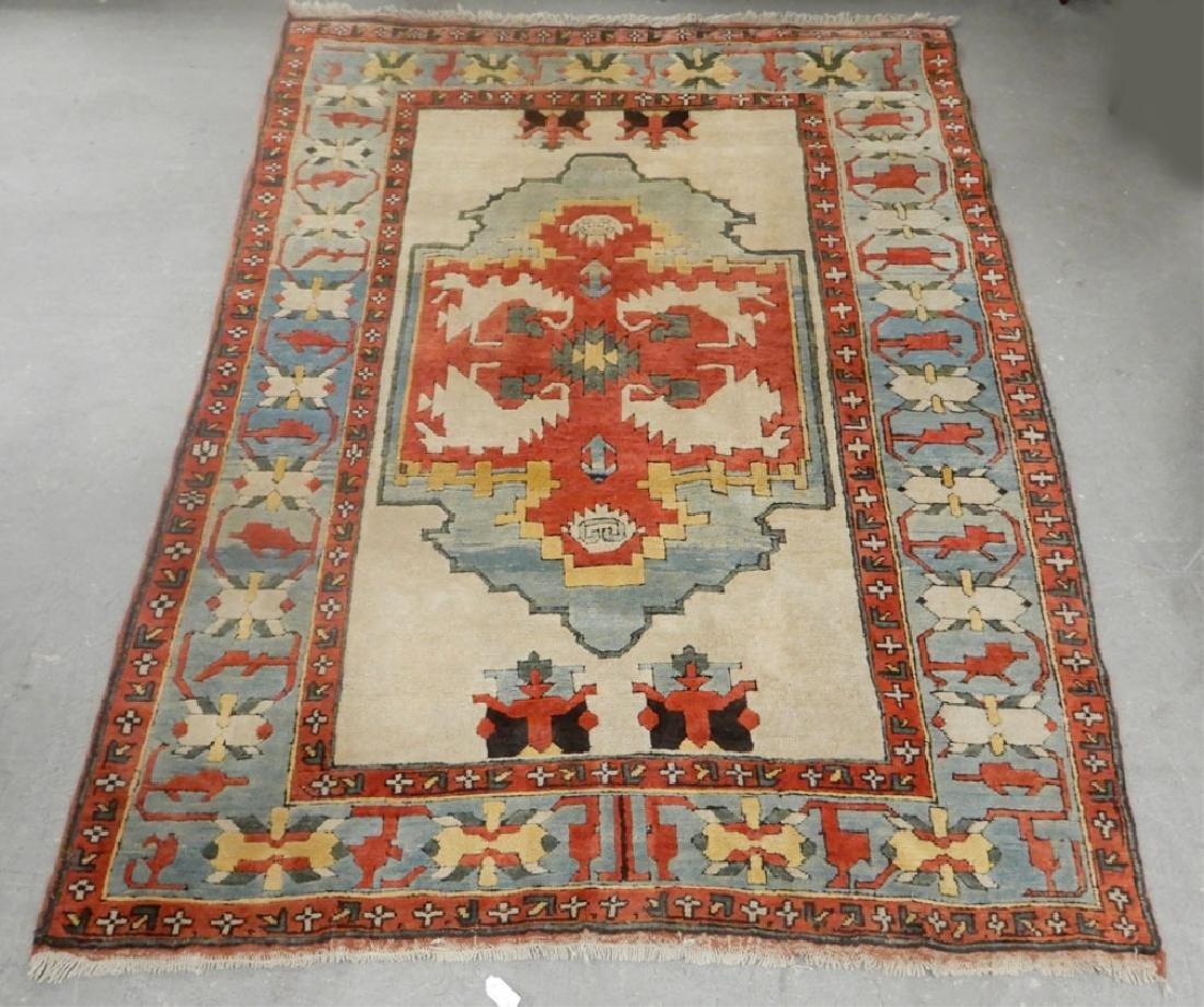 Hand tied rug Dosemalti Turkish Serapi