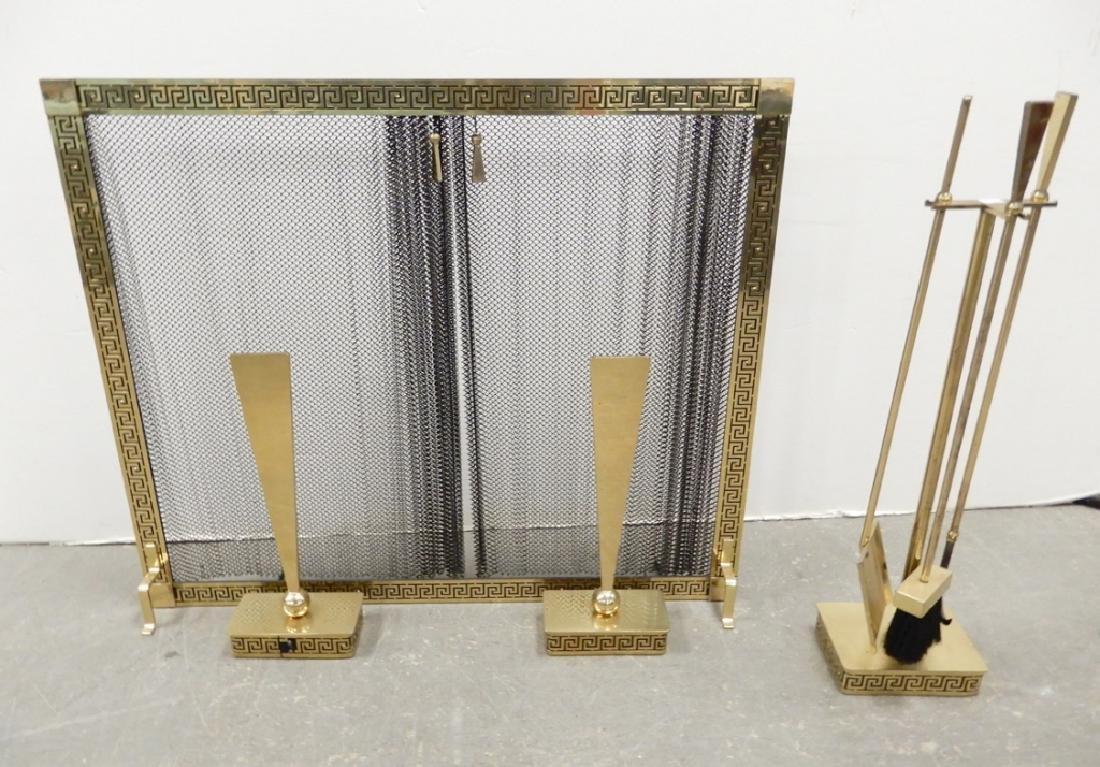 Mid C. brass fireplace set