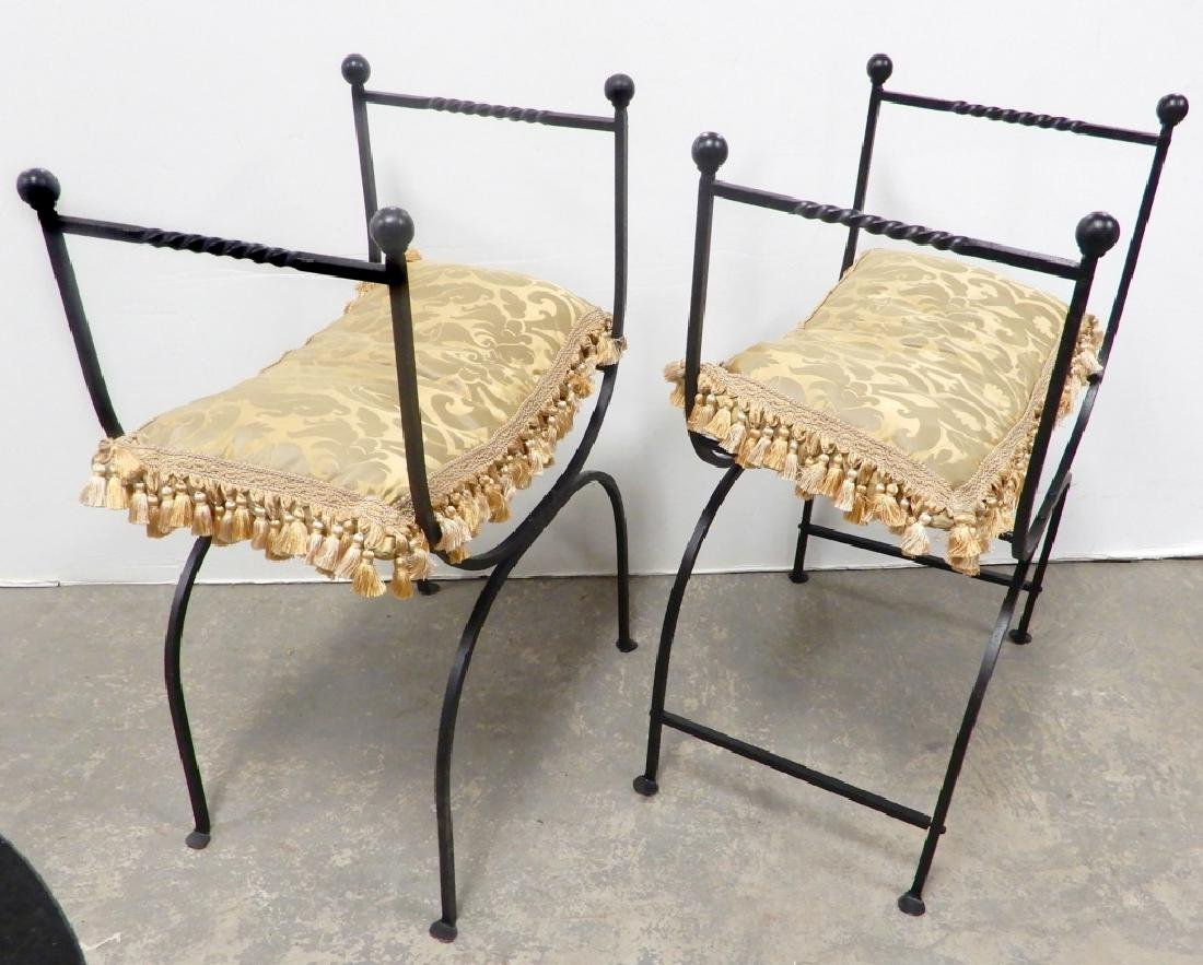 Pair of wrought iron curule chairs - 2