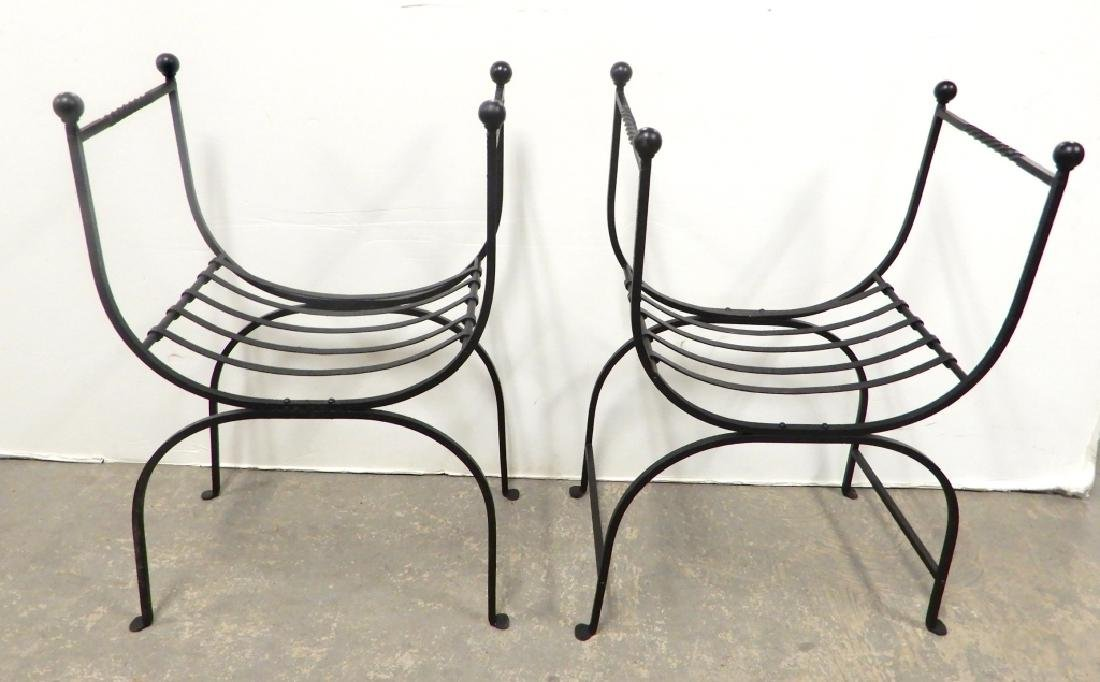 Pair of wrought iron curule chairs - 3