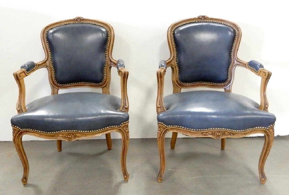 Pair of Louis XV style walnut fauteuils