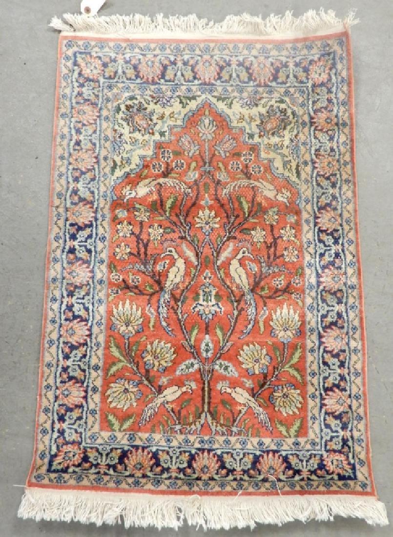 Kashmir silk prayer rug