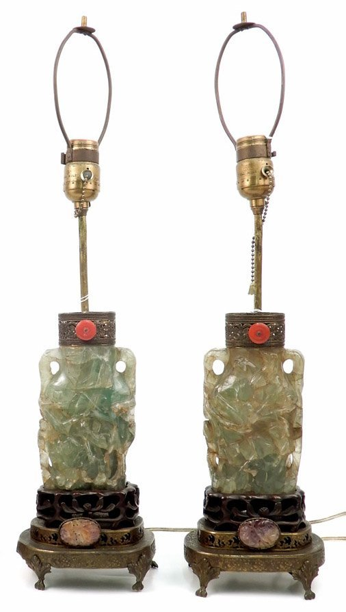 Pair of vintage Chinese carved green quartz lamps