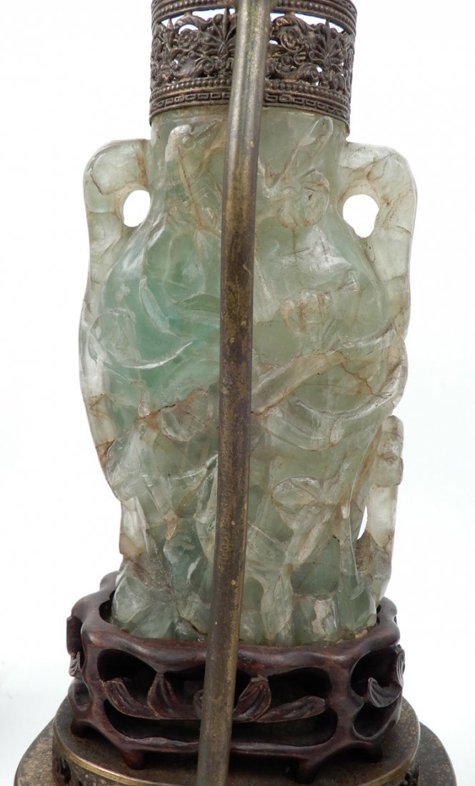 Pair of vintage Chinese carved green quartz lamps - 4