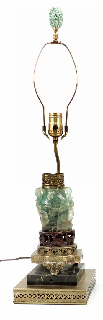 Vintage Chinese carved green quartz lamp