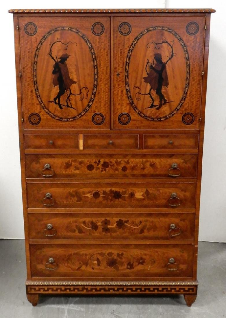 Inlaid chifferobe with desk drawer
