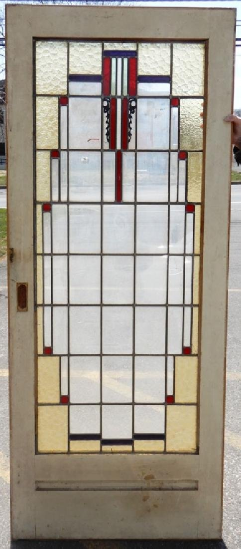 Art Deco stained and leaded glass door