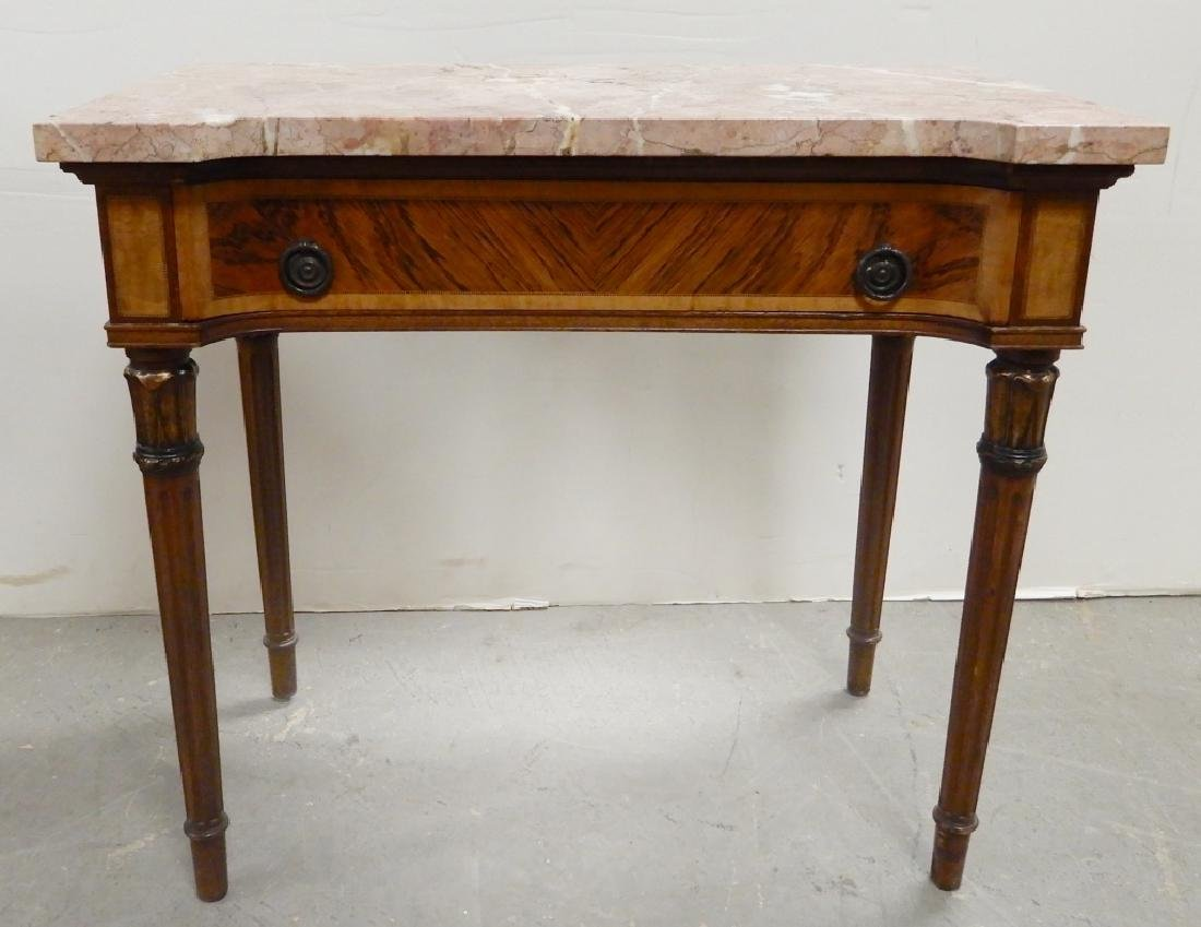 Inlaid marble top table