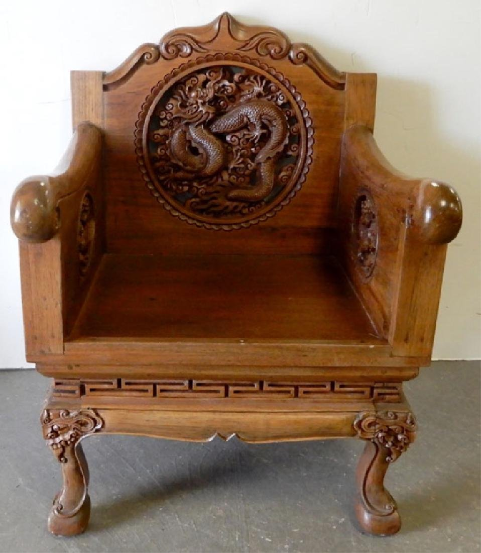 Chinese teak dragon armchair