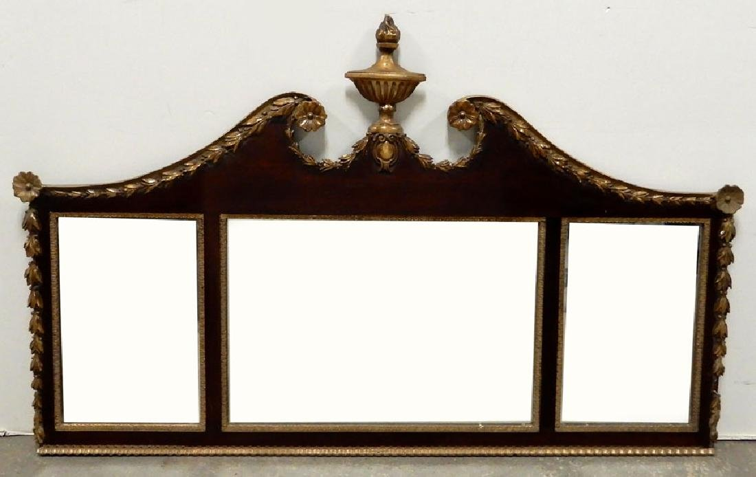 Federal style flame mahogany and gilt triple mirror