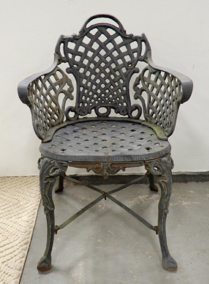 Victorian cast iron garden chairs - 2