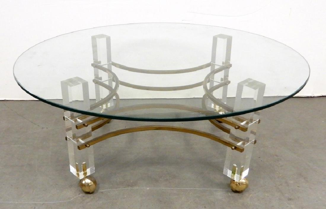 Mid C. Modern Lucite and glass cocktail table