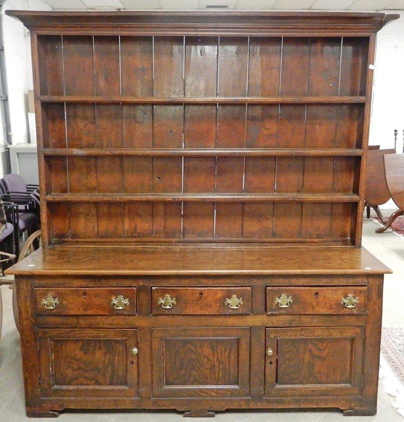 English Queen Anne oak pewter cupboard
