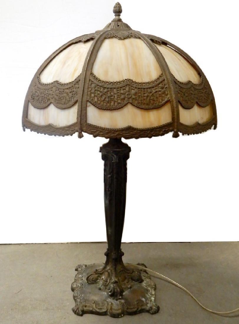 Bradley & Hubbard slag glass panel lamp