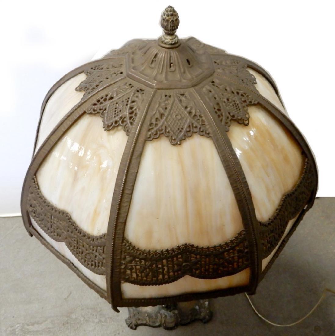 Bradley & Hubbard slag glass panel lamp - 2