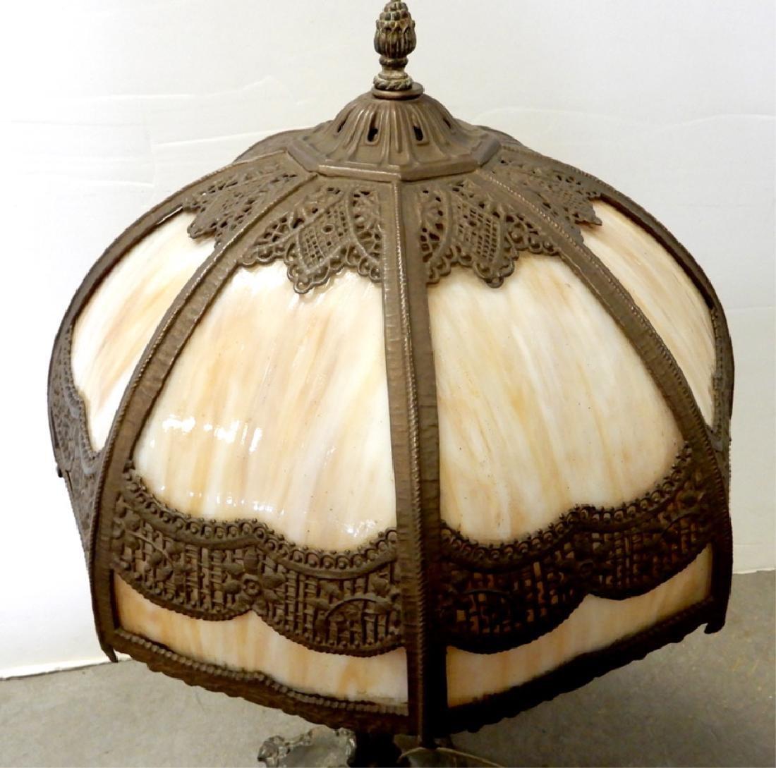 Bradley & Hubbard slag glass panel lamp - 3