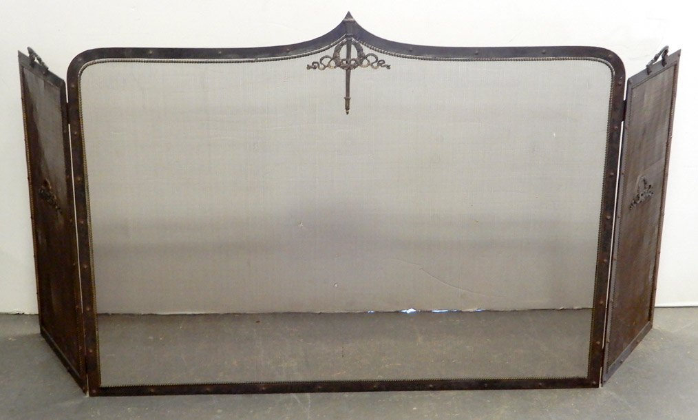 Iron fireplace screen, hinged sides with handles,