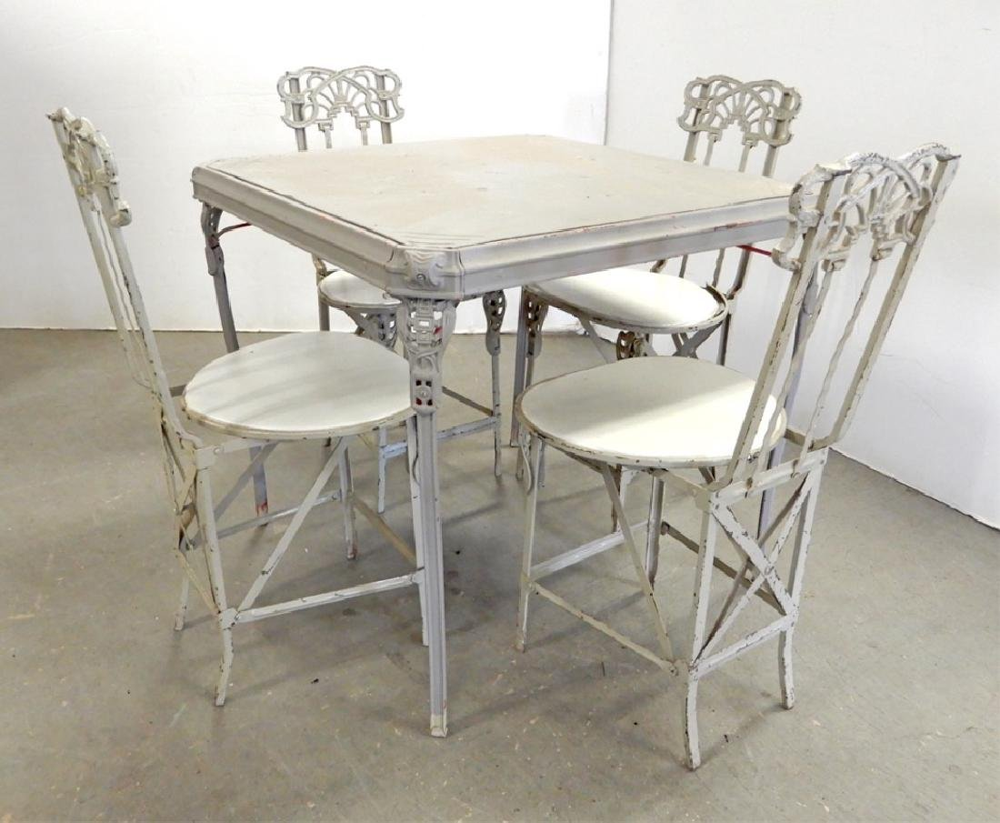 Painted metal folding patio set