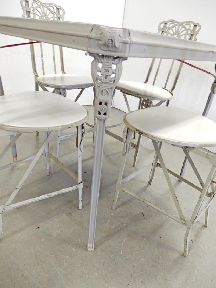 Painted metal folding patio set - 3