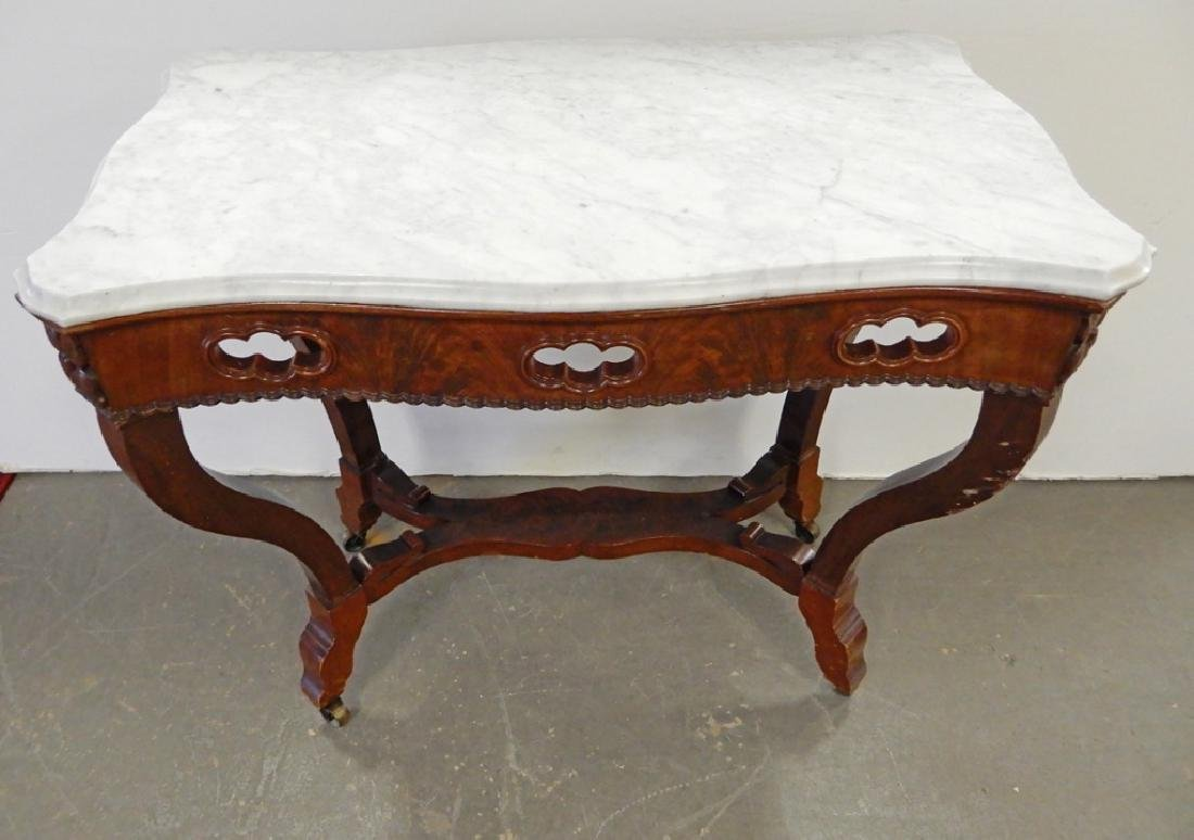 Victorian walnut center table - 2