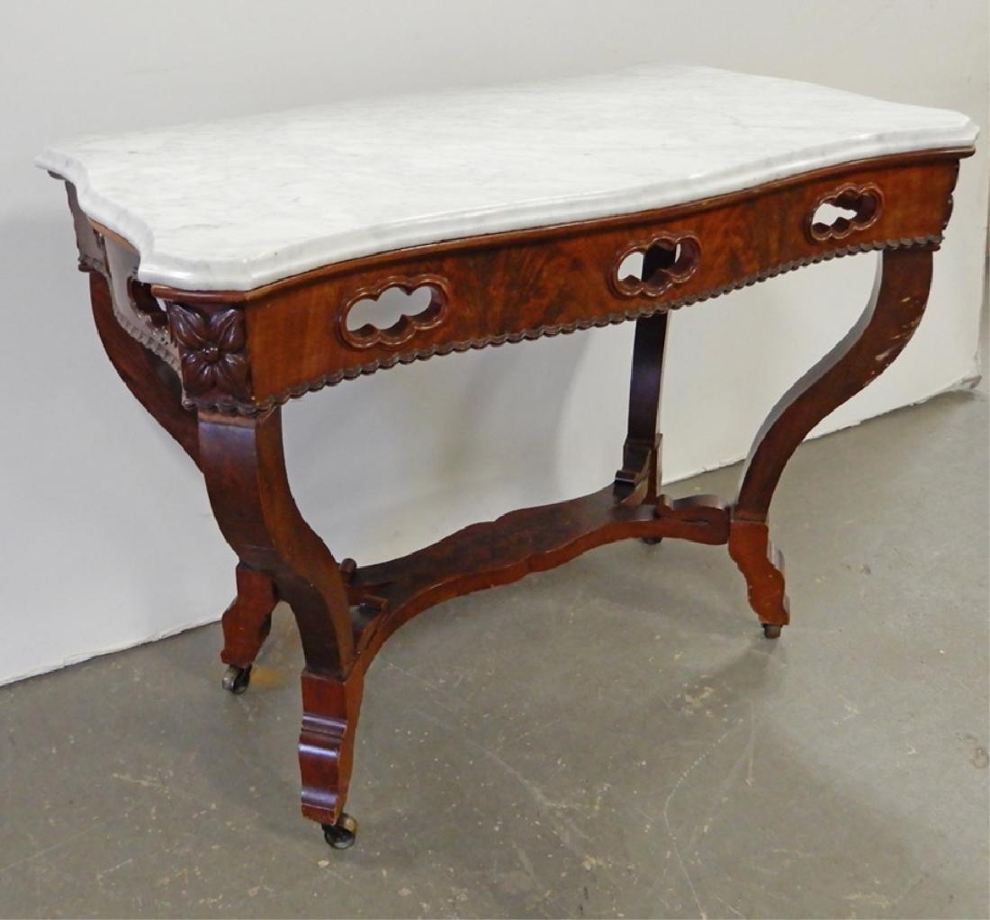Victorian walnut center table - 3