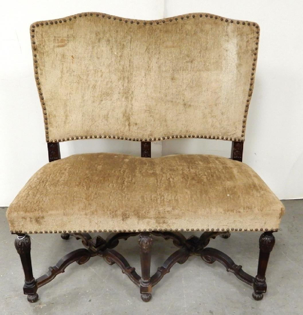 Upholstered walnut settee