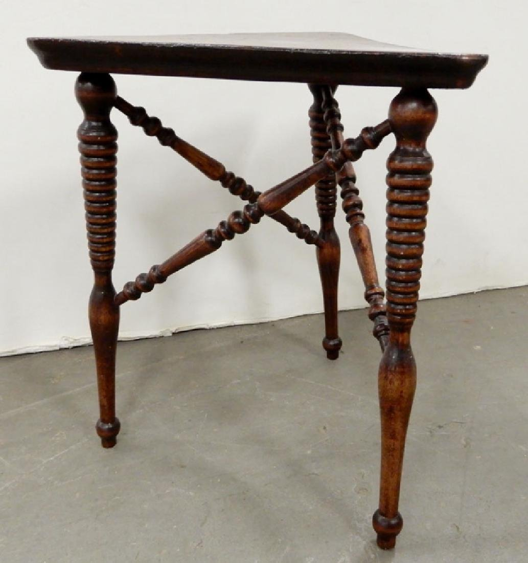 Mahogany stand, three legged stand and a footstool - 10