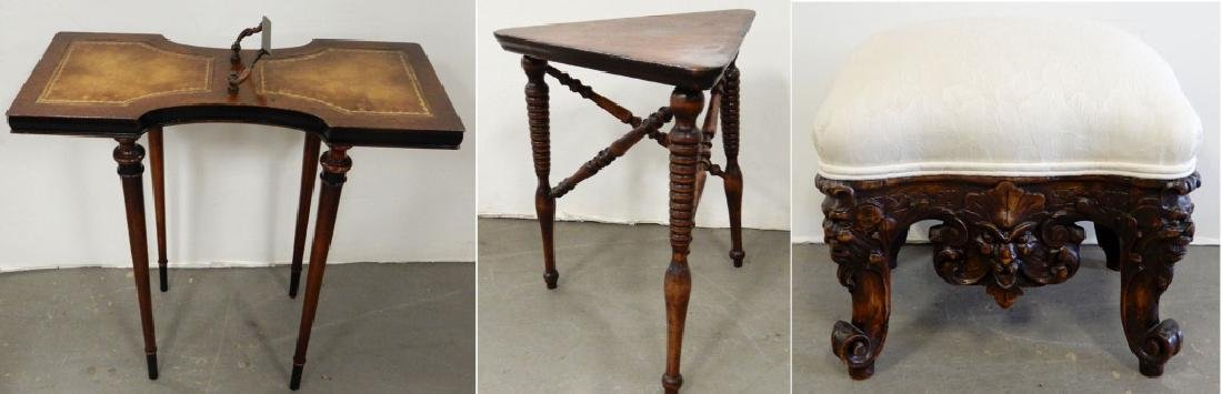 Mahogany stand, three legged stand and a footstool