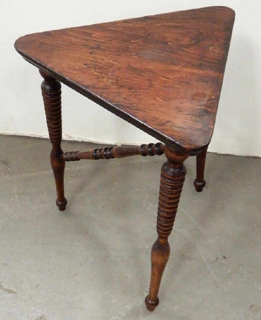 Mahogany stand, three legged stand and a footstool - 9