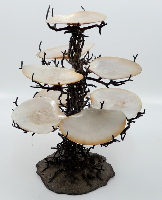 Bronze and clam shell epergne, eight shells, branch and