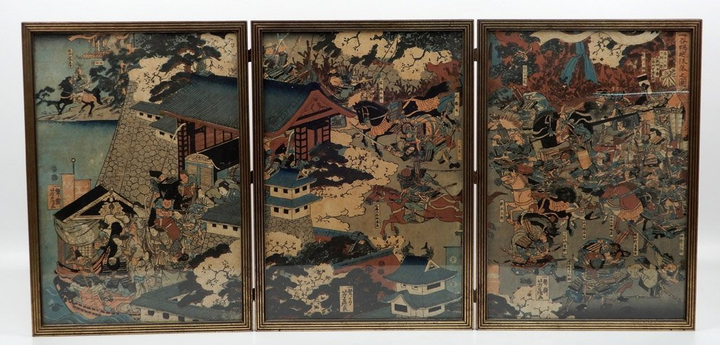 Japanese woodblock three panel table screen
