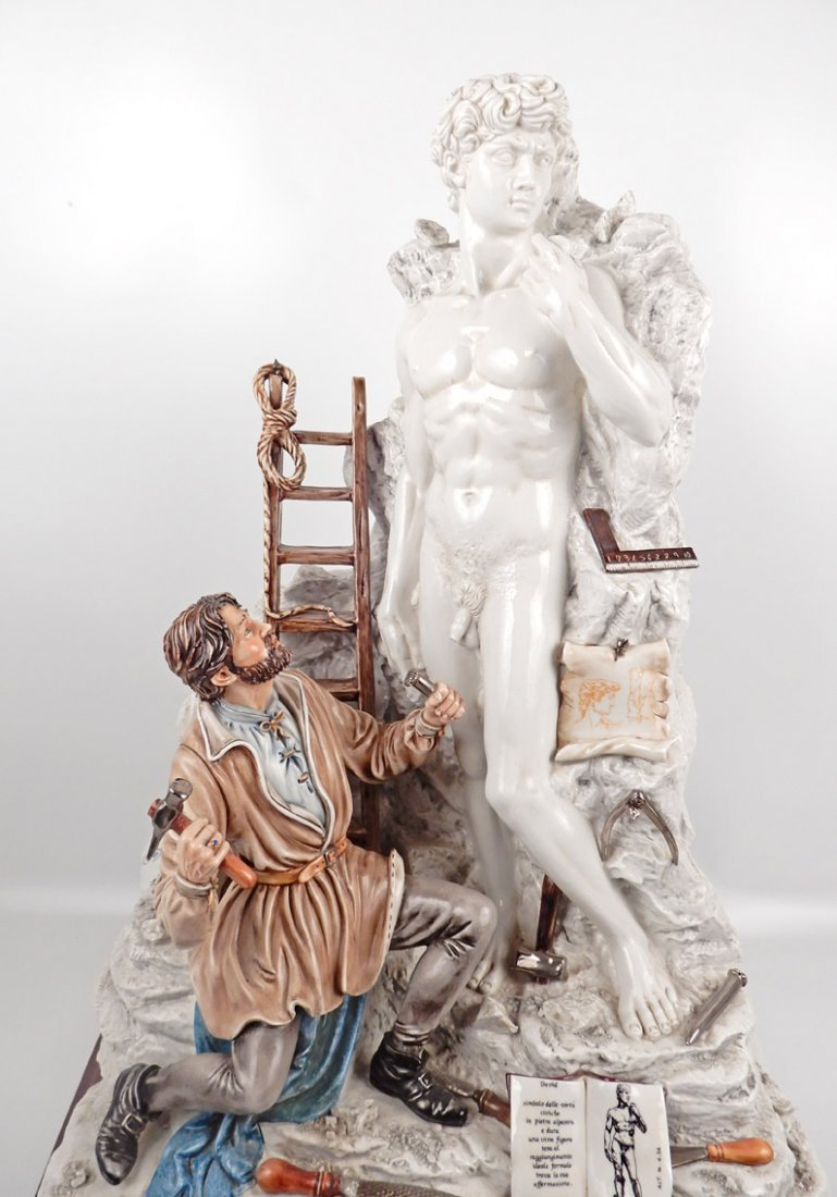 Capodimonte porcelain figure of Michelangelo sculpting - 2