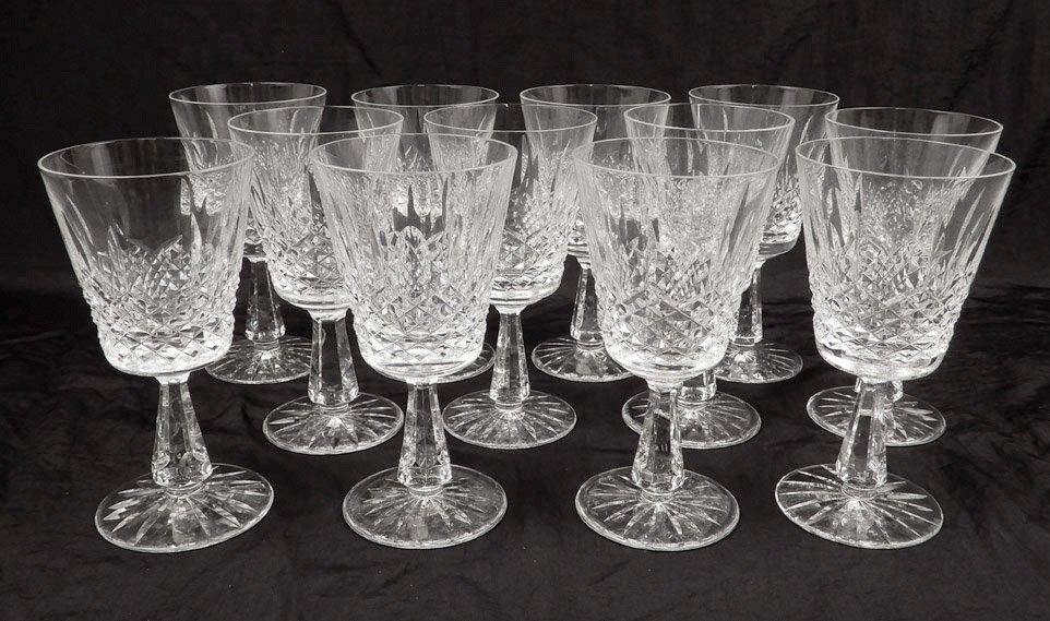 Twelve Waterford crystal Kenmare water goblets