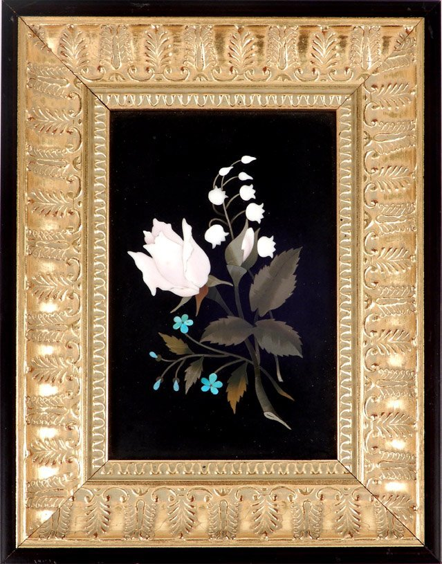 Pietra Dura floral plaque in gold leaf and wood frame,