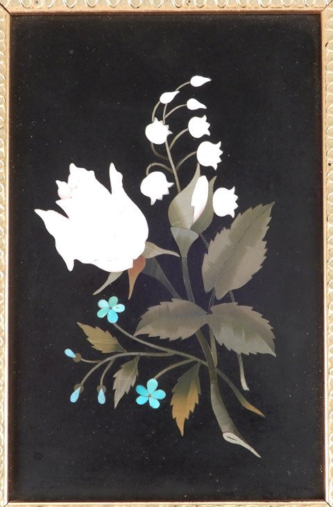 Pietra Dura floral plaque in gold leaf and wood frame, - 2