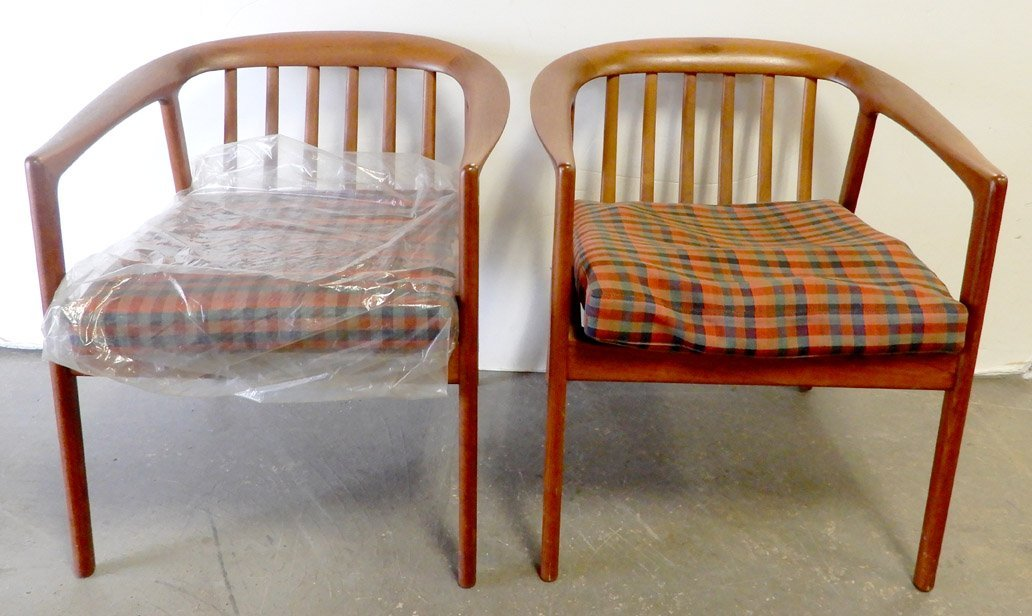 Pair of Dux walnut mid C. armchairs, with seat cushions