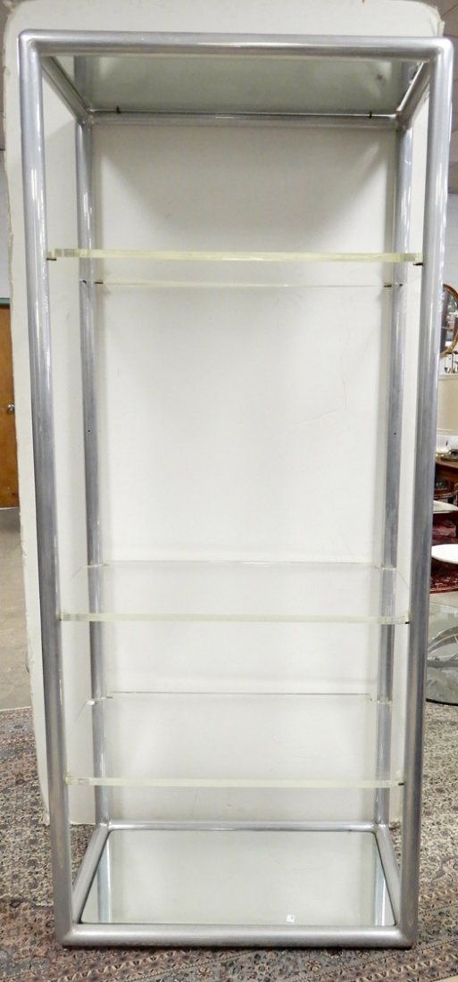 Leon Rosen for Pace chrome and lucite etagere, mid C.,