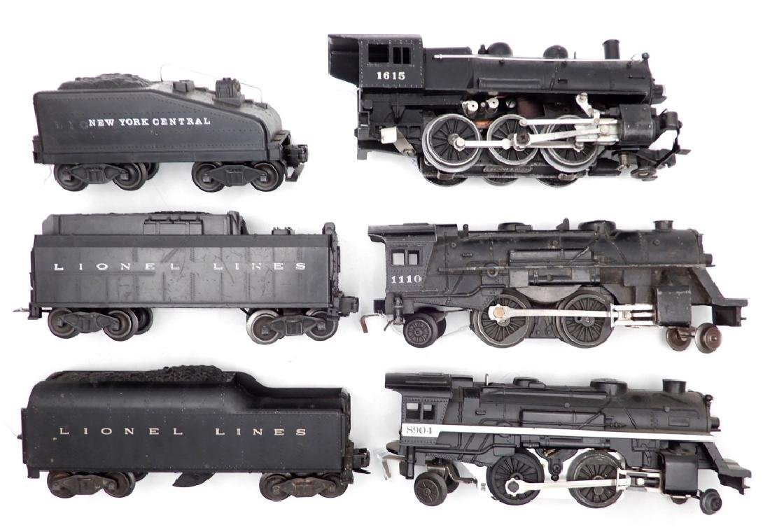 Assorted Lionel locomotives and tenders