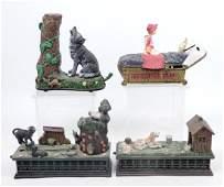 Four cast iron mechanical banks
