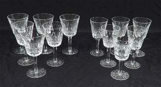 Twelve Waterford crystal Lismore claret wines and white
