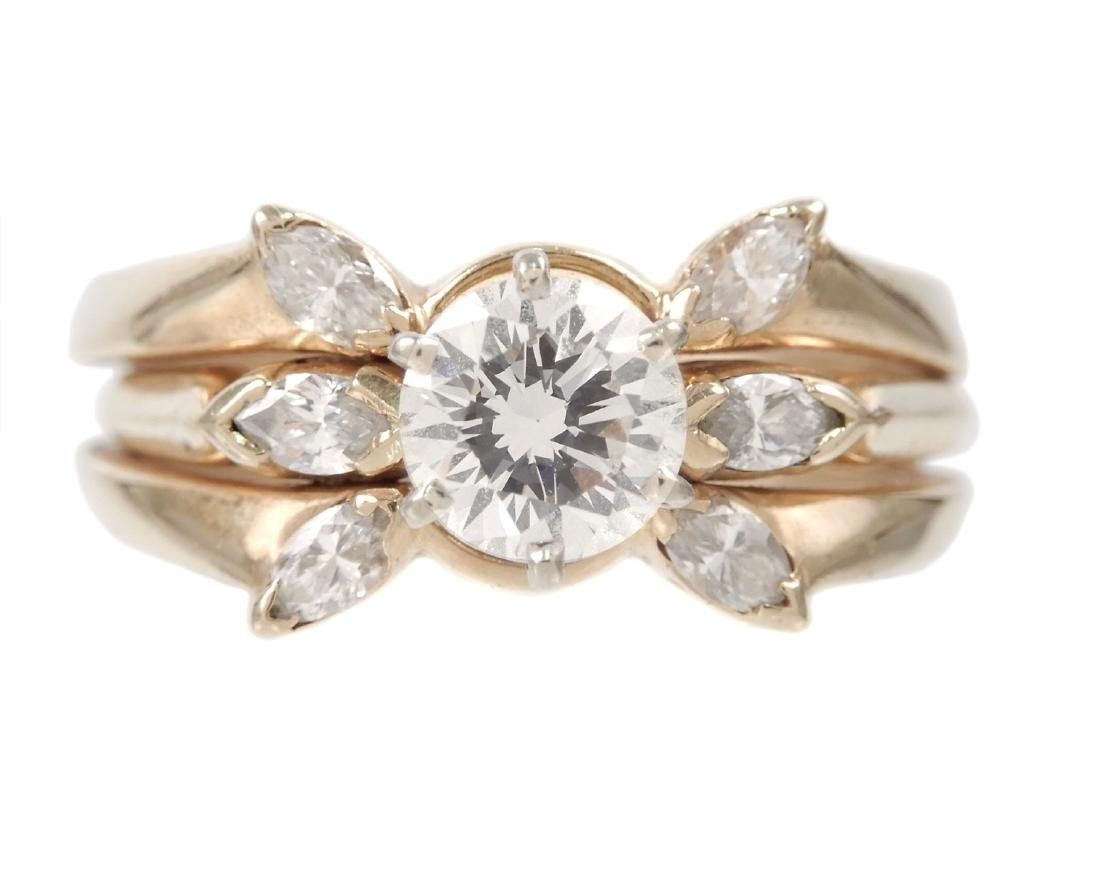 One carat diamond solitaire 14k gold engagement ring