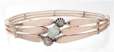 Edwardian 14k gold rose cut diamond and opal bracelet